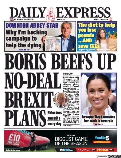 Daily Express Newspaper Front Page (UK) for 29 July 2019
