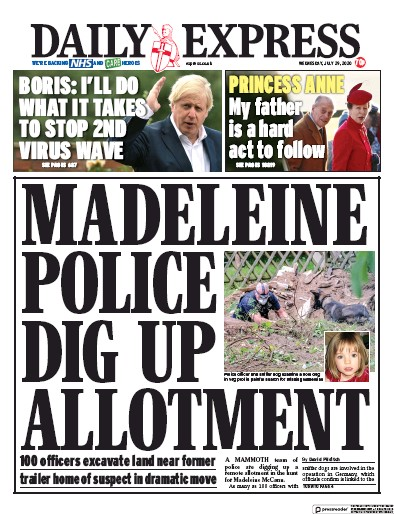 Daily Express Newspaper Front Page (UK) for 29 July 2020