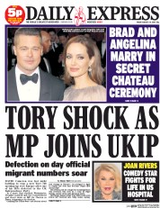 Daily Express (UK) Newspaper Front Page for 29 August 2014