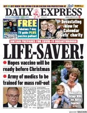 Daily Express (UK) Newspaper Front Page for 29 August 2020
