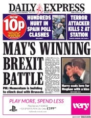 Daily Express (UK) Newspaper Front Page for 2 October 2017