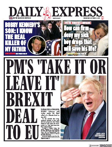 Daily Express Newspaper Front Page (UK) for 2 October 2019