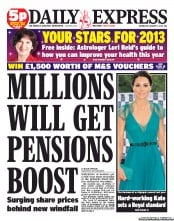 Daily Express Newspaper Front Page (UK) for 2 January 2013
