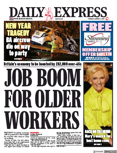 Daily Express Newspaper Front Page (UK) for 2 January 2020