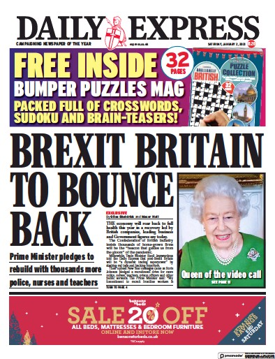 Daily Express Newspaper Front Page (UK) for 2 January 2021