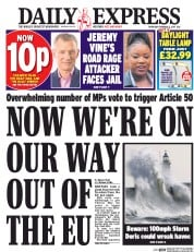 Daily Express (UK) Newspaper Front Page for 2 February 2017