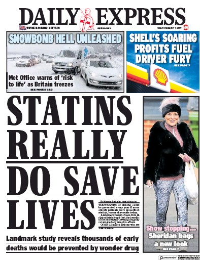 Daily Express Newspaper Front Page (UK) for 2 February 2019
