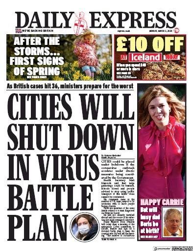 Daily Express Newspaper Front Page (UK) for 2 March 2020