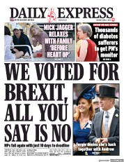 Daily Express (UK) Newspaper Front Page for 2 April 2019