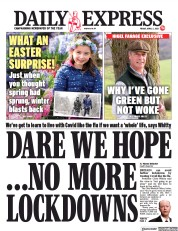 Daily Express (UK) Newspaper Front Page for 2 April 2021