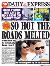 Daily Express (UK) Newspaper Front Page for 2 July 2015