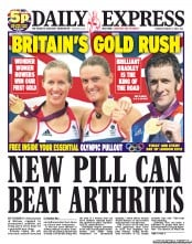 Daily Express Newspaper Front Page (UK) for 2 August 2012