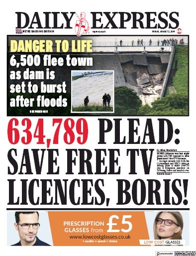 Daily Express Newspaper Front Page (UK) for 2 August 2019