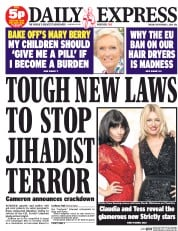 Daily Express (UK) Newspaper Front Page for 2 September 2014