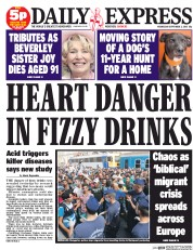Daily Express (UK) Newspaper Front Page for 2 September 2015