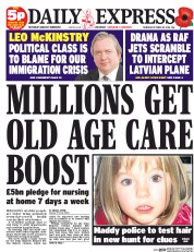 Daily Express (UK) Newspaper Front Page for 30 October 2014
