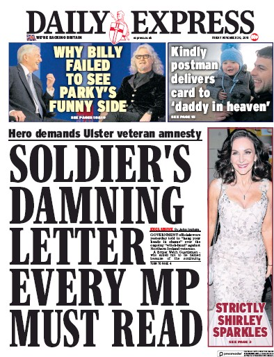 Daily Express Newspaper Front Page (UK) for 30 November 2018