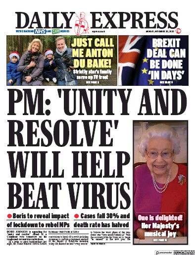 Daily Express Newspaper Front Page (UK) for 30 November 2020