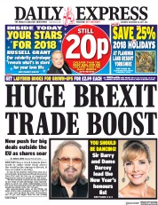 Daily Express (UK) Newspaper Front Page for 30 December 2017