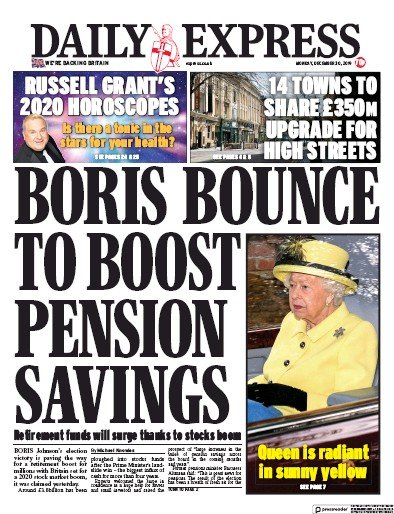 Daily Express Newspaper Front Page (UK) for 30 December 2019
