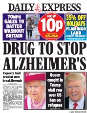 Daily Express (UK) Newspaper Front Page for 30 January 2017