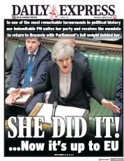 Daily Express (UK) Newspaper Front Page for 30 January 2019