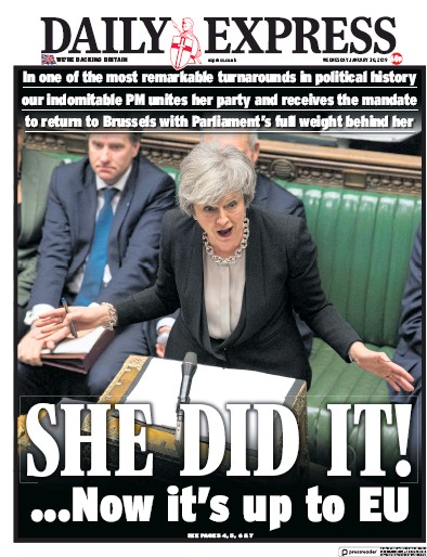 Daily Express Newspaper Front Page (UK) for 30 January 2019