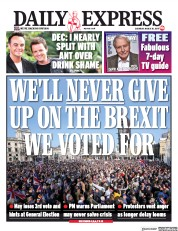 Daily Express (UK) Newspaper Front Page for 30 March 2019