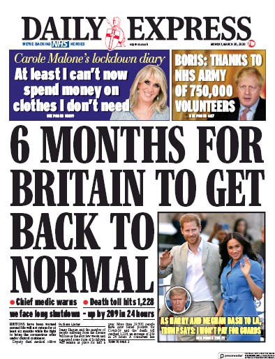 Daily Express Newspaper Front Page (UK) for 30 March 2020