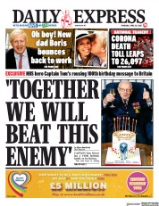 Daily Express (UK) Newspaper Front Page for 30 April 2020