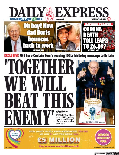 Daily Express Newspaper Front Page (UK) for 30 April 2020