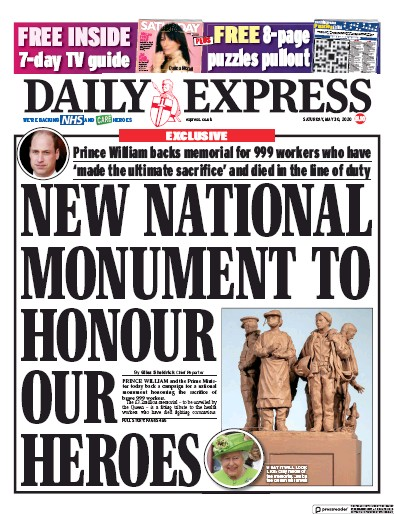 Daily Express Newspaper Front Page (UK) for 30 May 2020