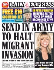 Daily Express (UK) Newspaper Front Page for 30 July 2015