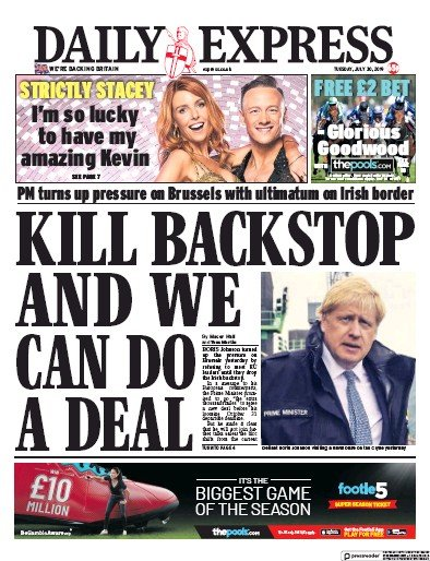 Daily Express Newspaper Front Page (UK) for 30 July 2019