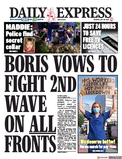 Daily Express Newspaper Front Page (UK) for 30 July 2020