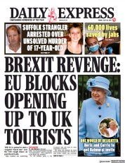 Daily Express () Newspaper Front Page for 30 July 2021