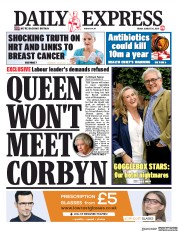 Daily Express (UK) Newspaper Front Page for 30 August 2019