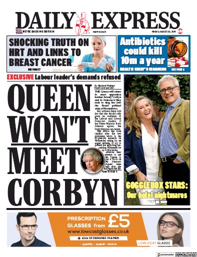 Daily Express Newspaper Front Page (UK) for 30 August 2019