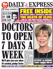 Daily Express (UK) Newspaper Front Page for 30 September 2014