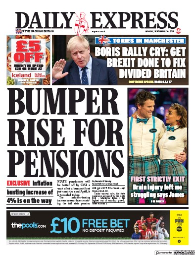 Daily Express Newspaper Front Page (UK) for 30 September 2019