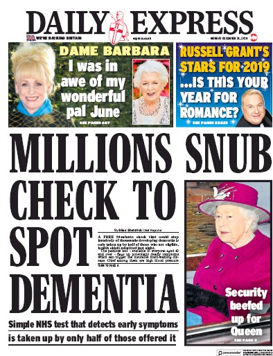 Daily Express Newspaper Front Page (UK) for 31 December 2018