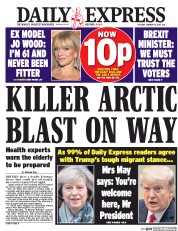 Daily Express (UK) Newspaper Front Page for 31 January 2017