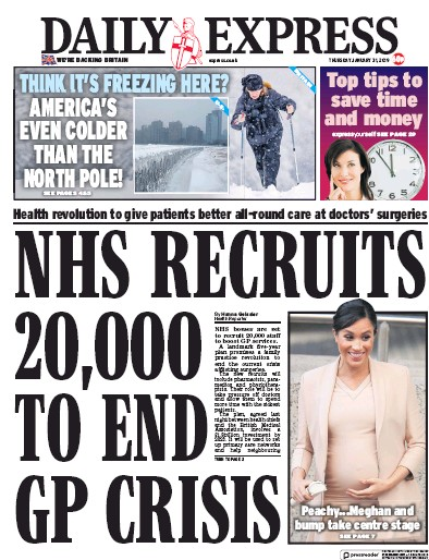 Daily Express Newspaper Front Page (UK) for 31 January 2019