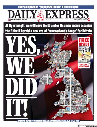 Daily Express Newspaper Front Page (UK) for 31 January 2020