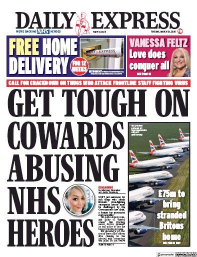 Daily Express Newspaper Front Page (UK) for 31 March 2020
