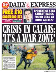 Daily Express (UK) Newspaper Front Page for 31 July 2015