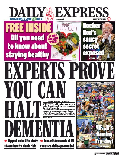 Daily Express Newspaper Front Page (UK) for 31 July 2020