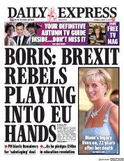 Daily Express () Newspaper Front Page for 31 August 2019