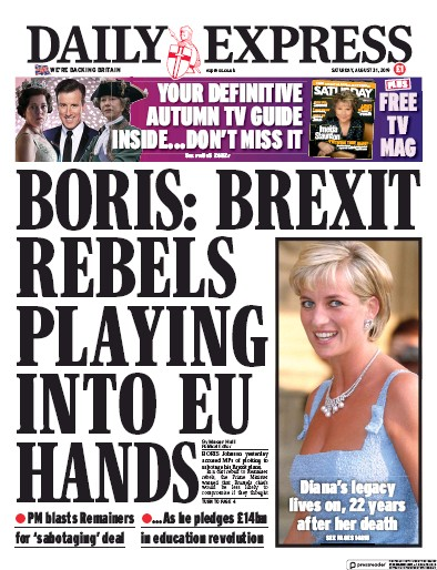 Daily Express Newspaper Front Page (UK) for 31 August 2019