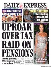 Daily Express (UK) Newspaper Front Page for 31 August 2020